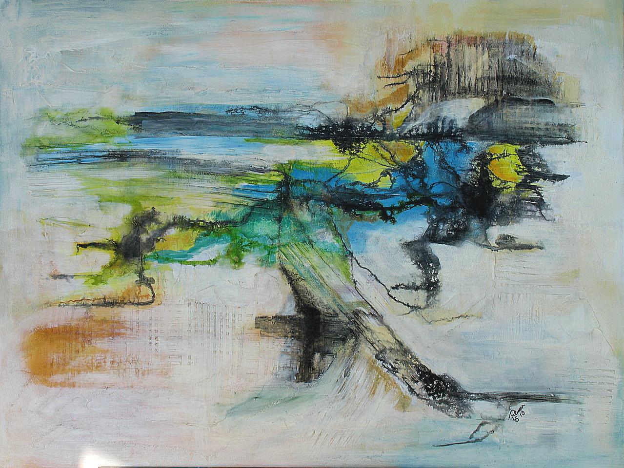 Flusslandschaft,  Acryl, Gips, Tusche auf Holz, 60 x 80 cm