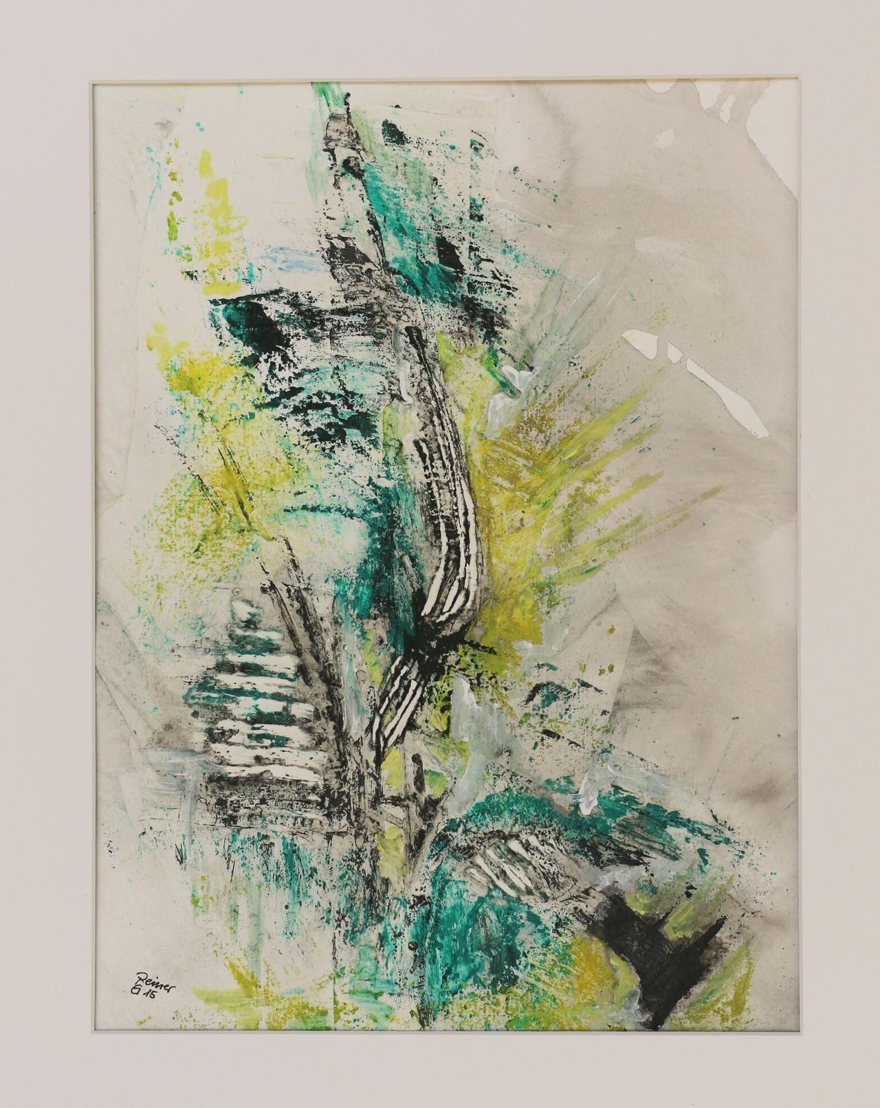 Etwas Grün 2, Acryl,Marmormehl,Öl auf Papier  50 x 40 cm