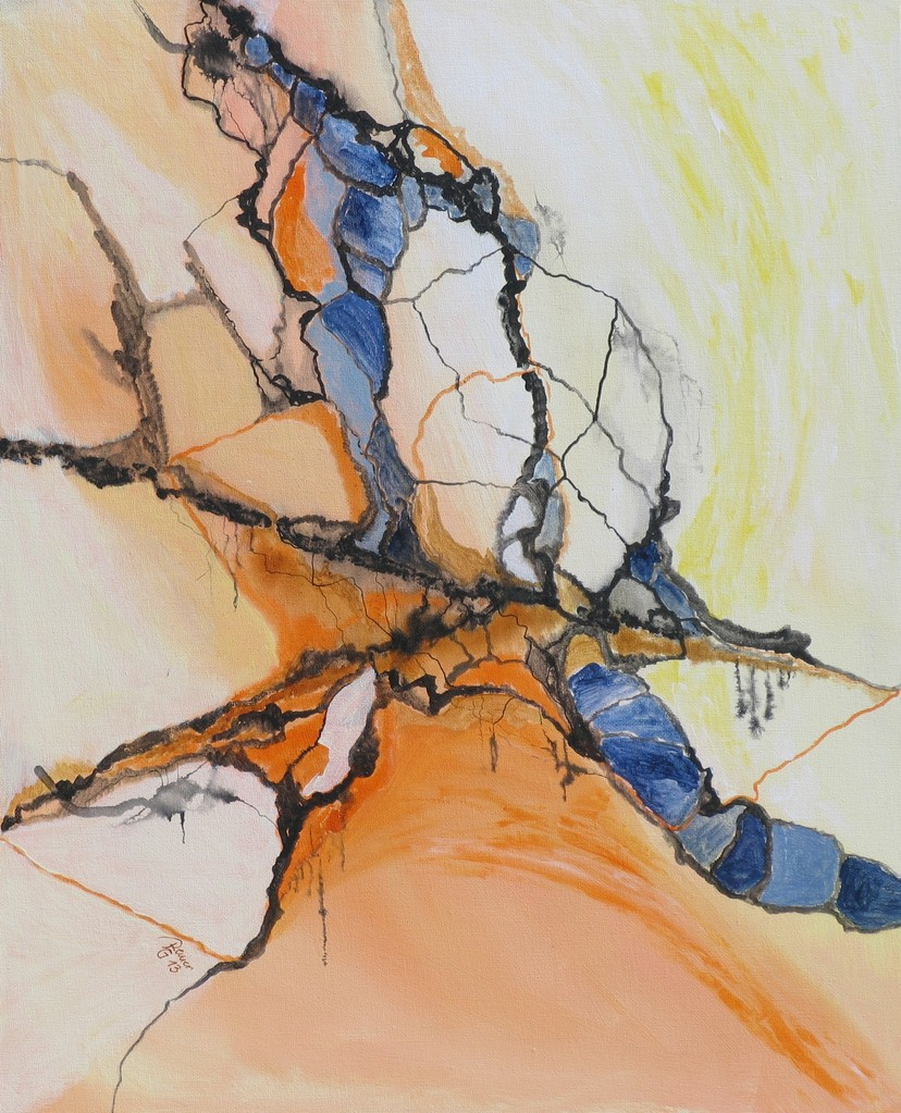 Linie trifft Fläche 1, Acryl auf Leinwand, 50 x 40 cm
