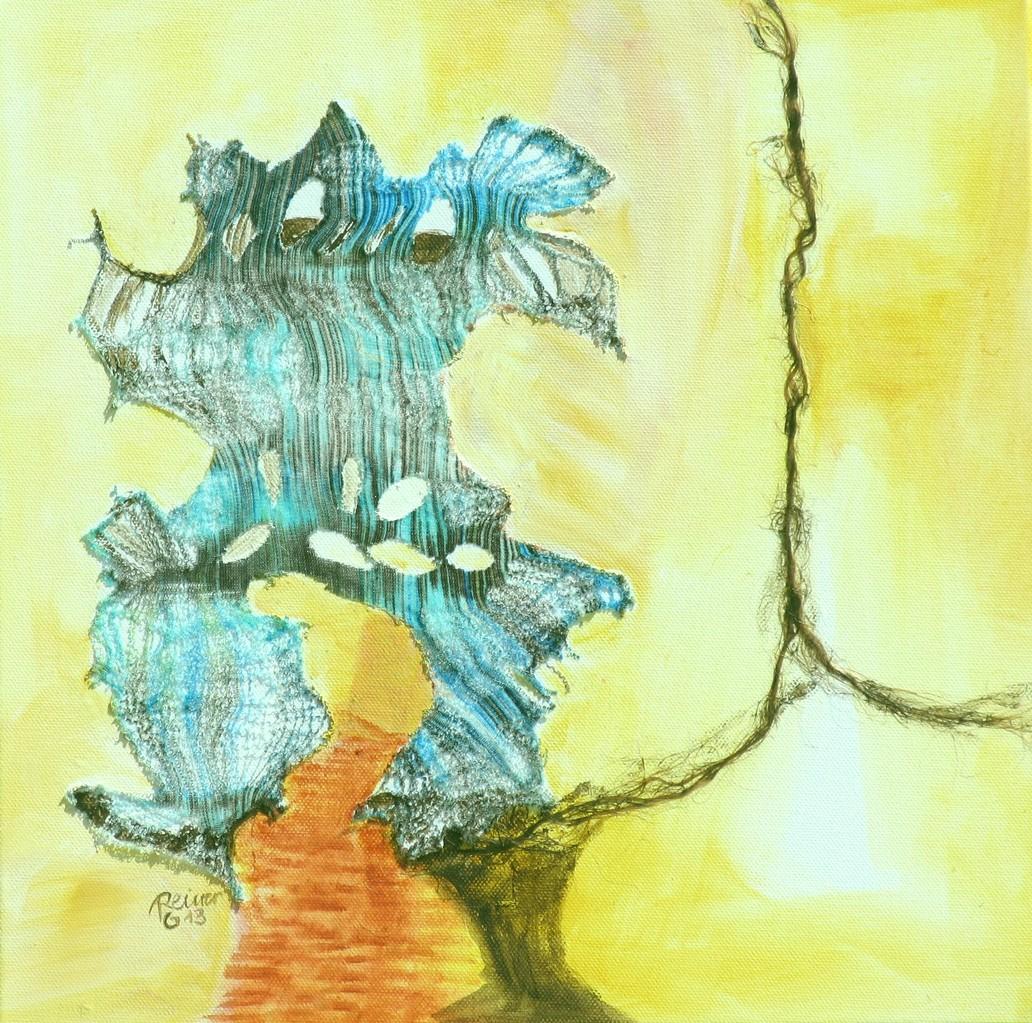 Decollage 4, Stoff,Sisal,Acryl auf Leinwand, 40 x 40 cm