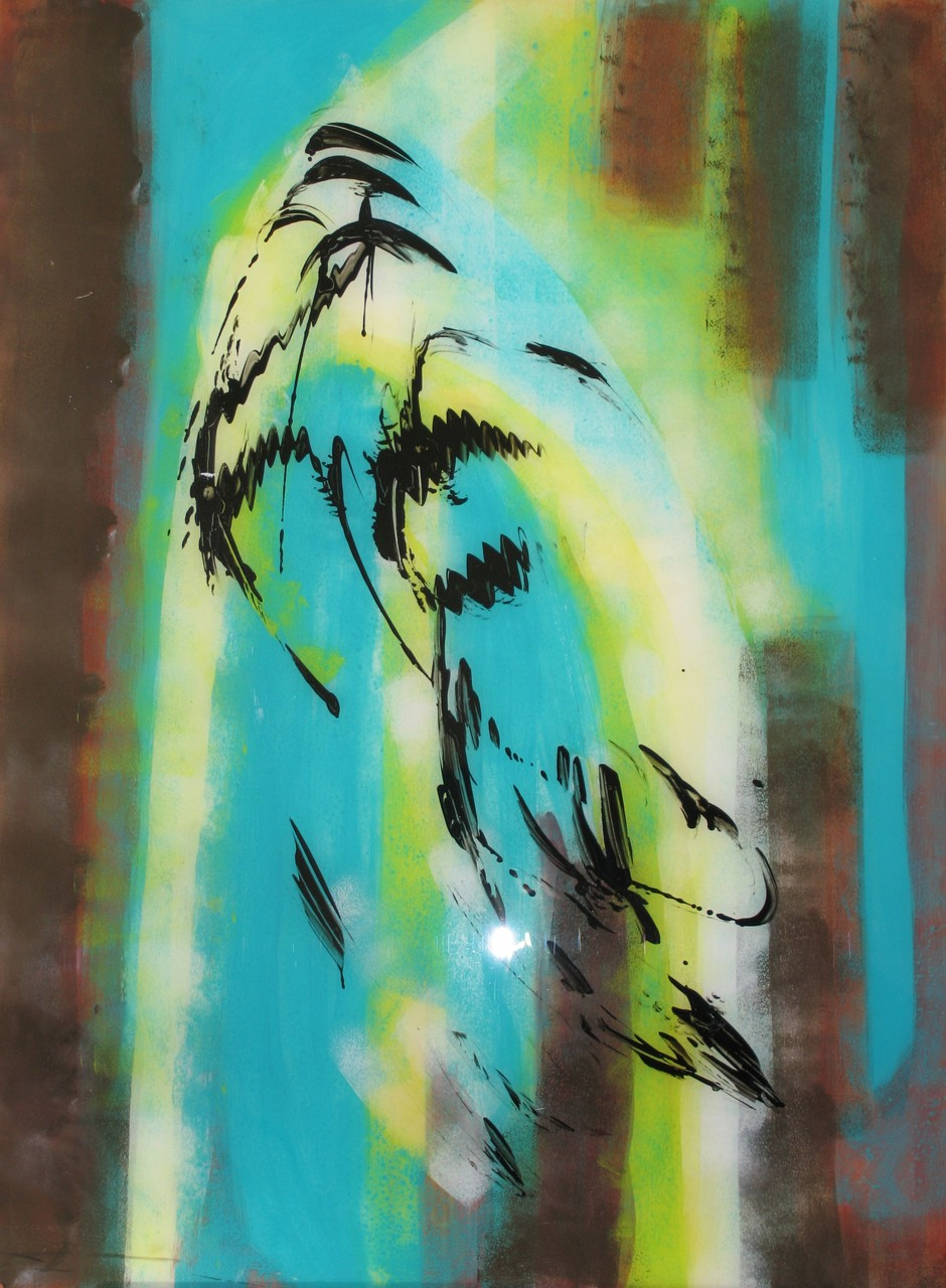 o.T. 2, Acryl hinter Acrylglas, 80 x 60 cm