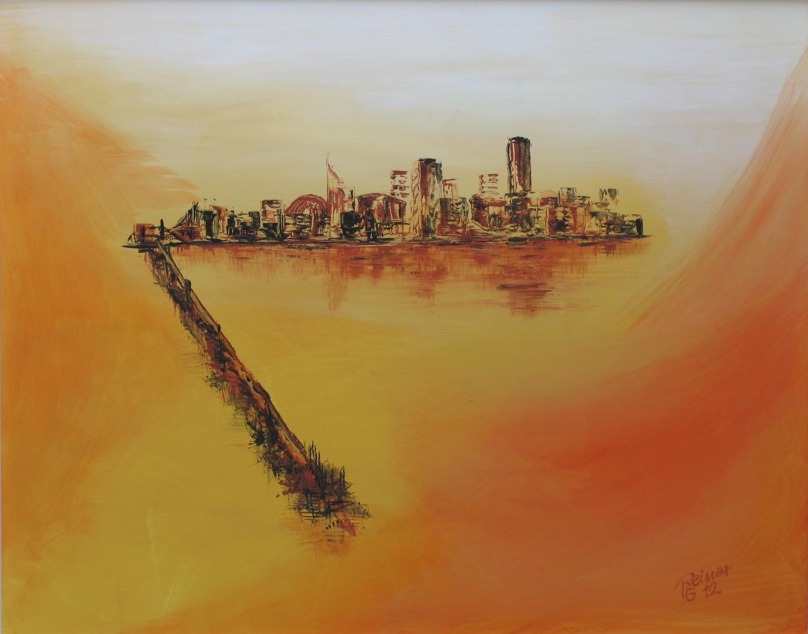 Weg in die Stadt 2, Acryl auf Karton, 40 x 50 cm