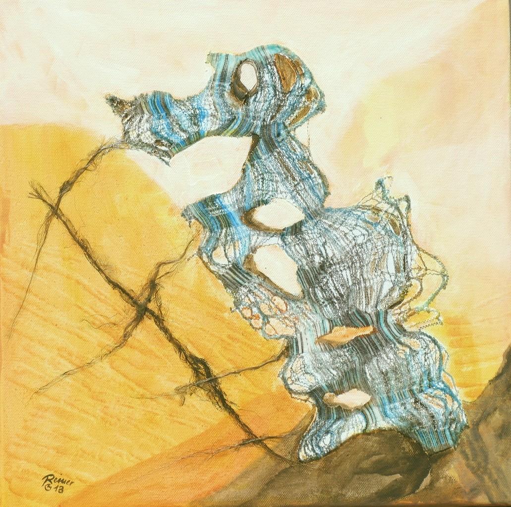 Decollage 1, Stoff,Sisal, Acryl auf Leinwand, 40 x 40 cm