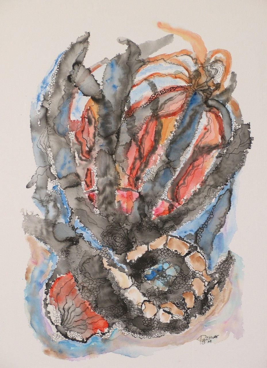 Graue Form, Aquarell, Tusche auf Malpappe, 53 x 43 cm
