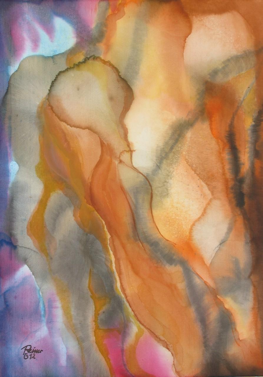 Gestalten 1, Tusche auf Leinwand, 70 x 50 cm