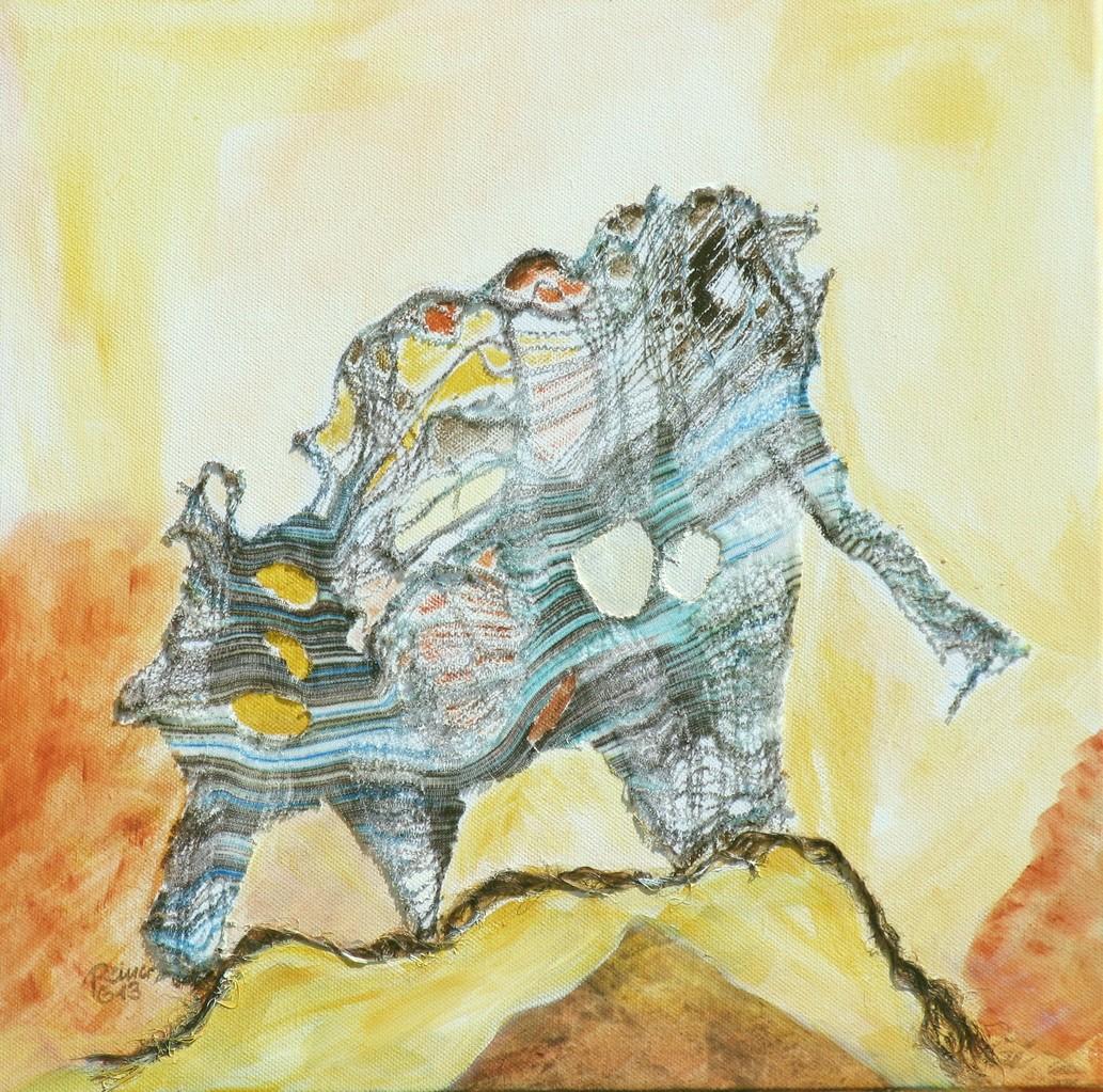 Decollage 3, Stoff,Sisal,Acryl auf Leinwand, 40 x 40 cm