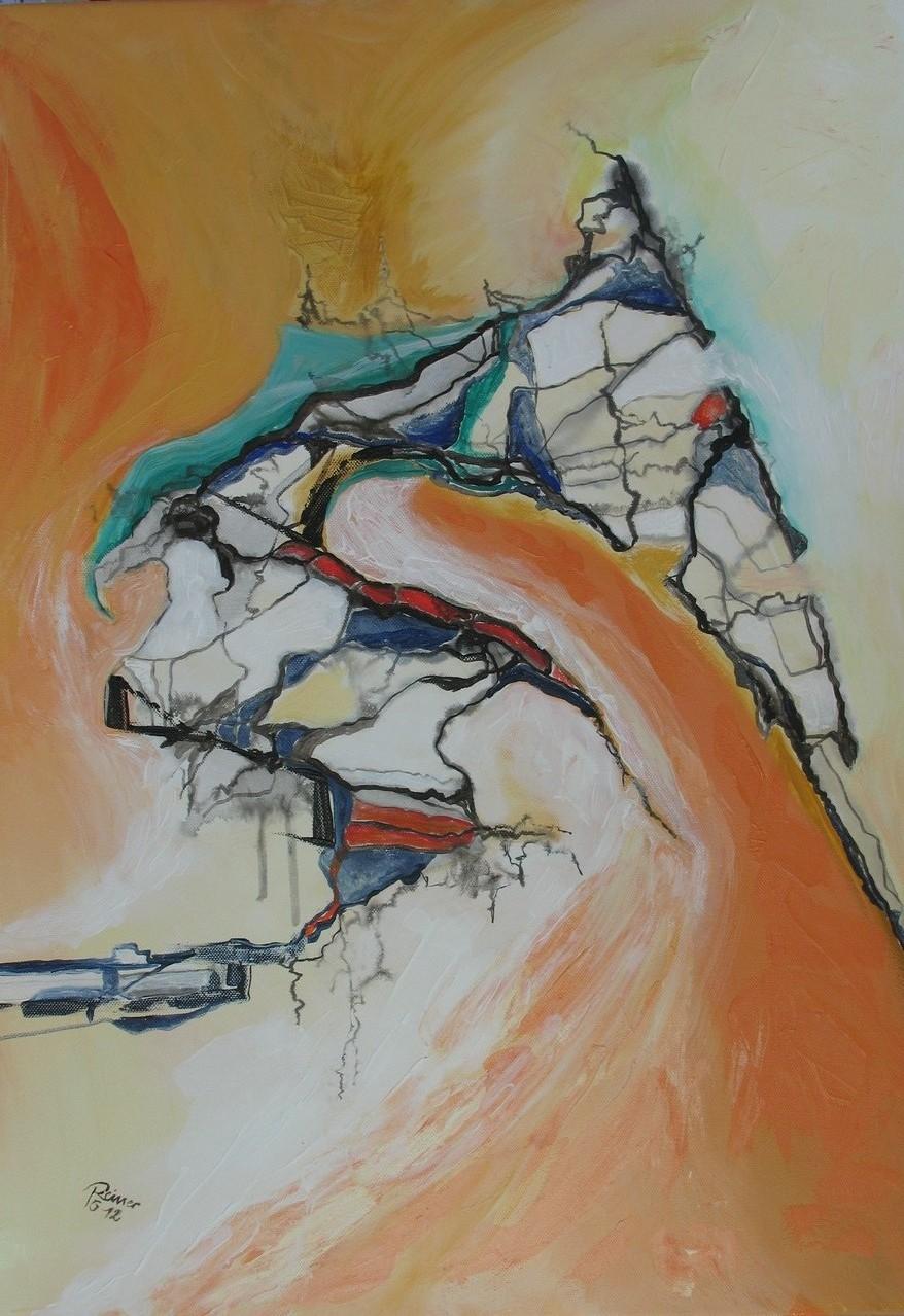 Bruchzonen 2, Acryl, Tusche auf Leinwand, 70 x 50 cm