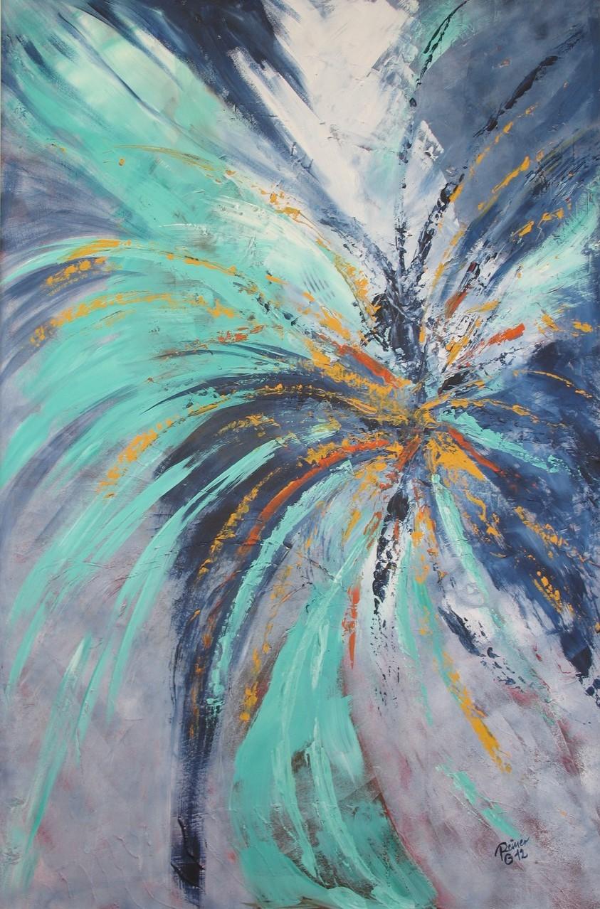 Feuerwerk, Acryl auf Holz, 120 x 80 cm