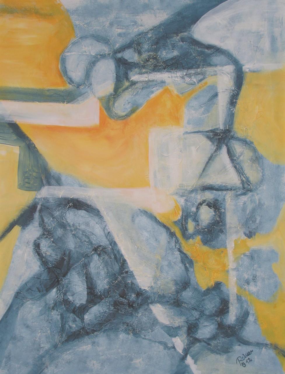 Der Sprung, Acryl, Kunstfaser auf Holz, 70 x 50 cm