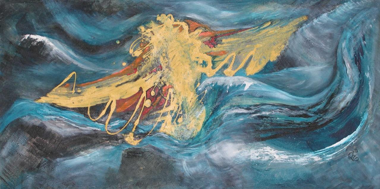 Freier Flug, Acryl,  Gewebe, Sand auf Leinw., 50 x 100 cm