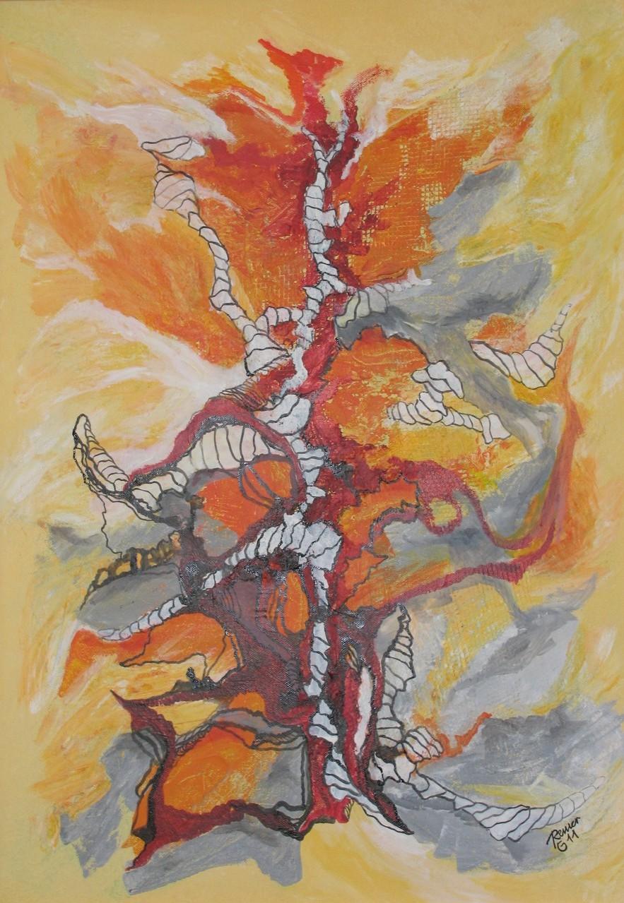 Inferno, Acryl, Tusche auf Leinwand, 70 x 50 cm