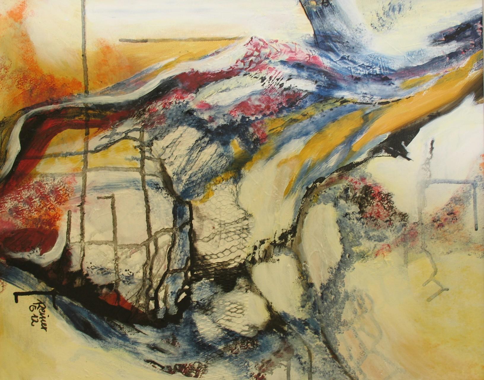 Zerborsten, Axryl, Netz auf Leinwand  50 x 40 cm