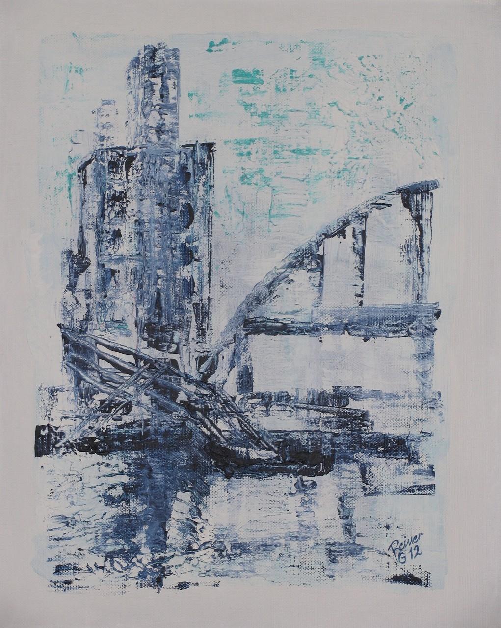 Am Hafen, Acryl auf Leinwand, 50 x 40 cm
