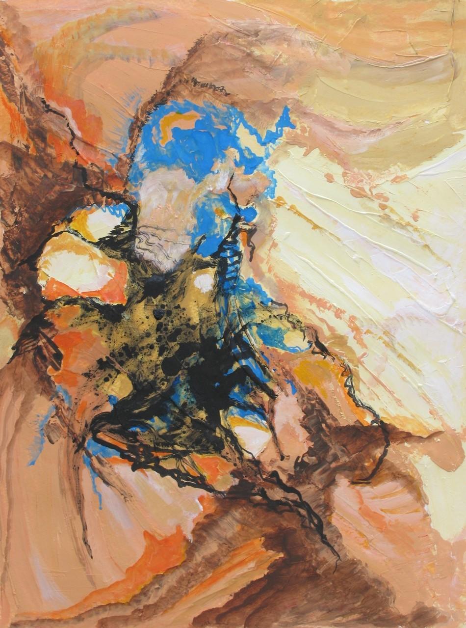 Felsspalte 2, Acryl, Marmormehl, Tusche auf Papier, 40 x 30 cm