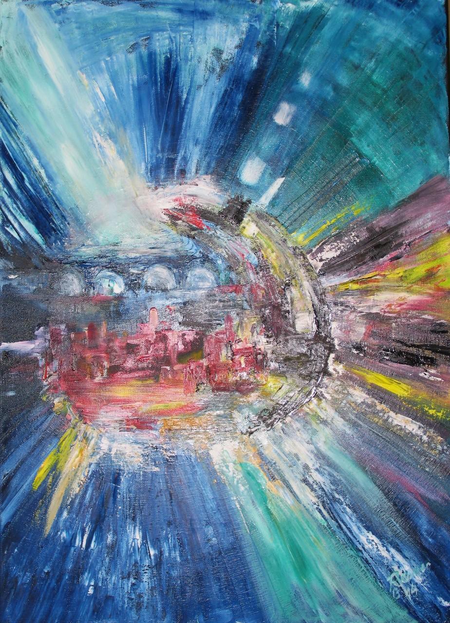 Verzerrung, Oel auf Leinwand, 70 x 50 cm