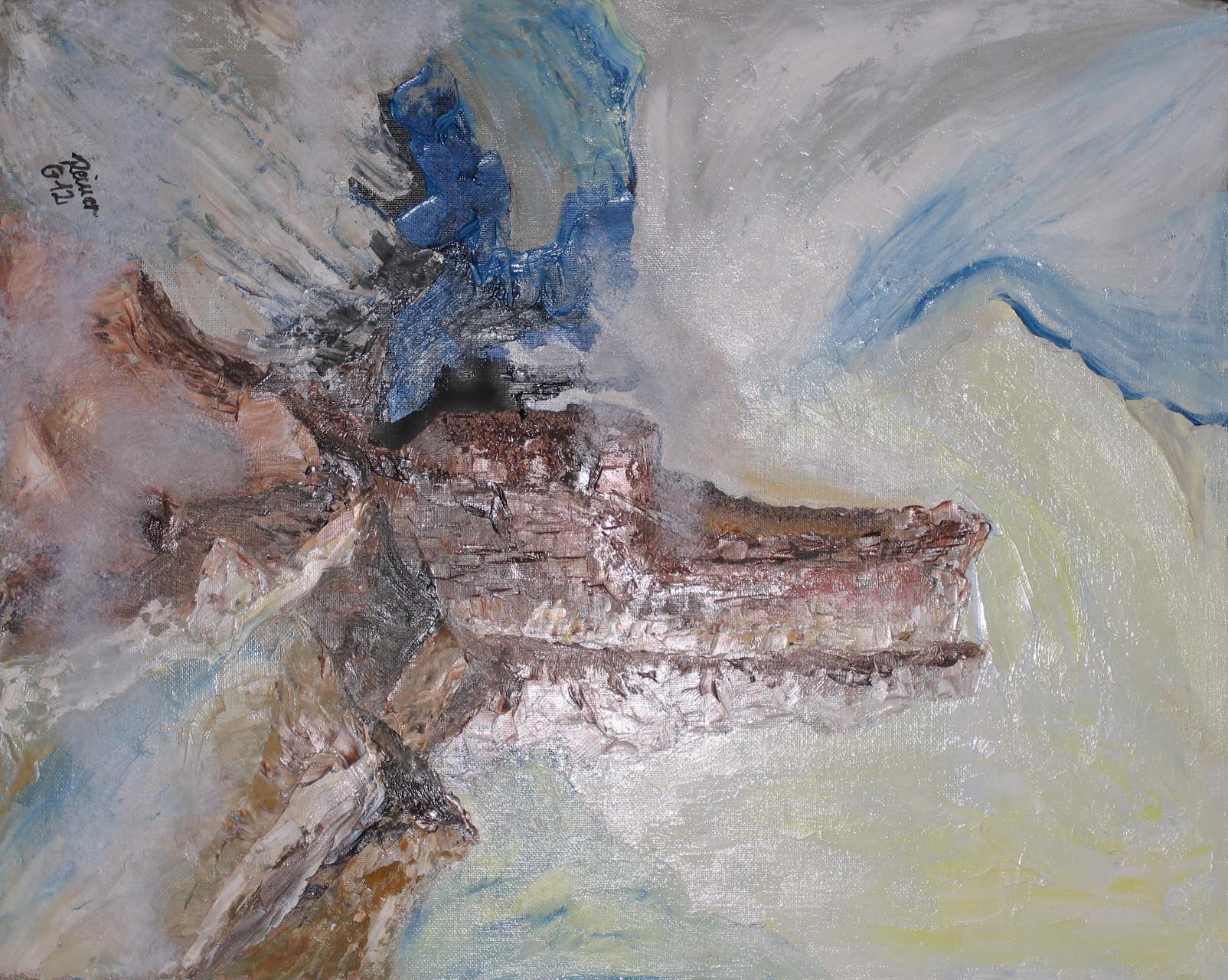 Über d. Wolken, Öl auf Malkarton  50 x 40 cm