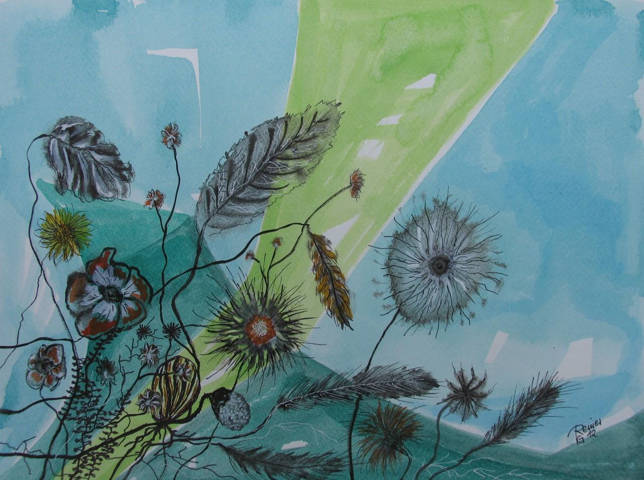 Distelartige 4, Tusche auf Papier, 30 x 40 cm