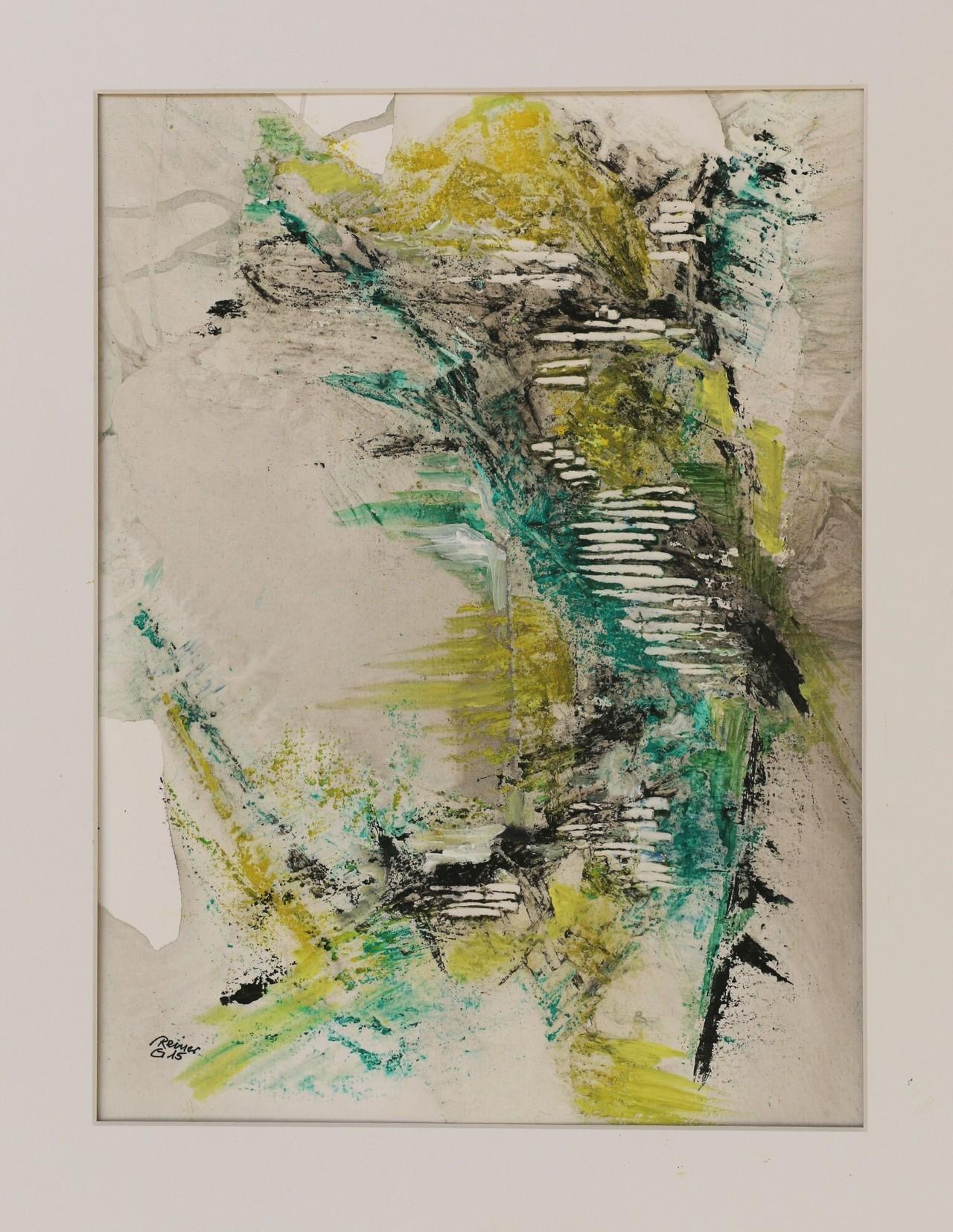 Etwas Grün 1, Acryl,Marmormehl,Öl auf Papier  50 x 40 cm