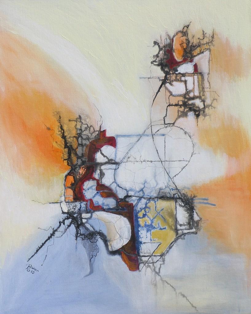 Linie trifft Fläche 4, Acryl auf Leinwand, 50 x 40 cm