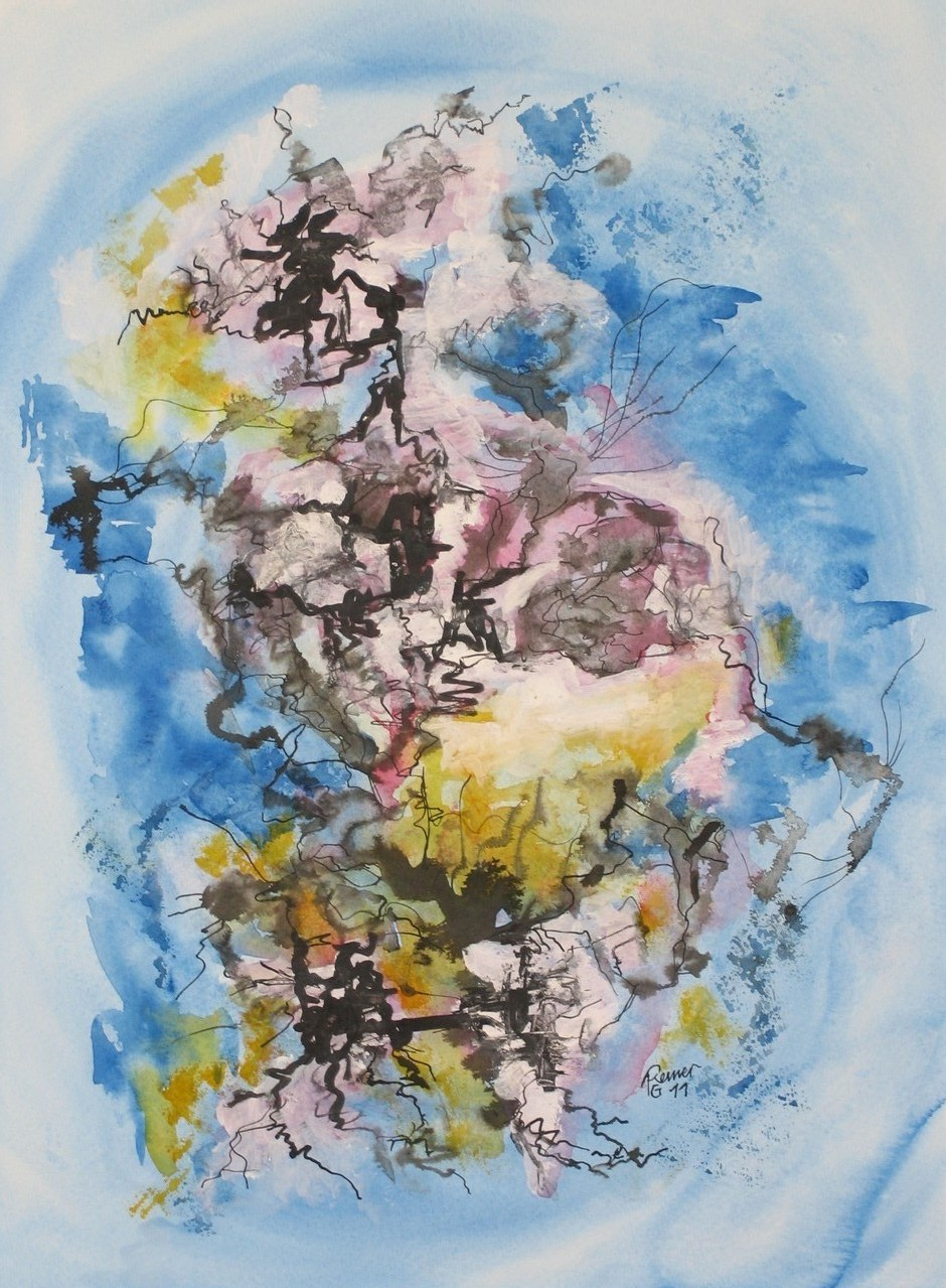 Urknall, Aquarell, Tusche auf Papier, 40 x 30 cm