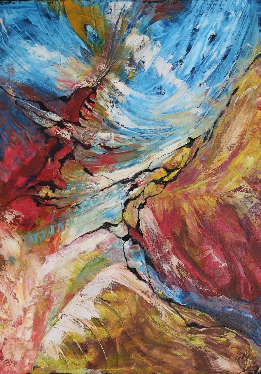 Farbverlauf, Oel auf Leinwand, 70 x 50 cm