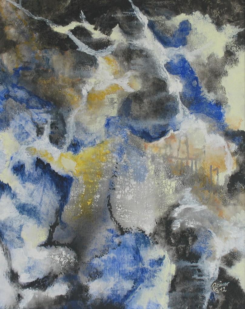Gewitterstimmung, Acryl auf Malplatte, 50 x 40 cm