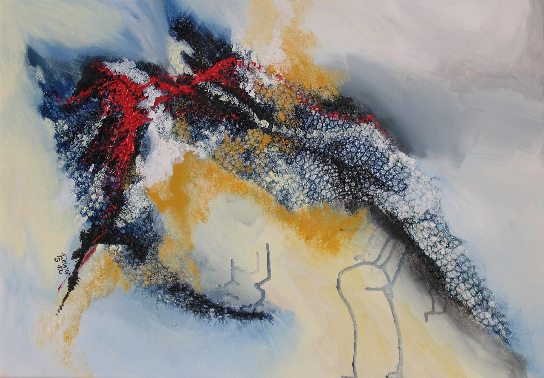 Schwingen, Acryl, Netz auf Leinwand  70 x 50 cm