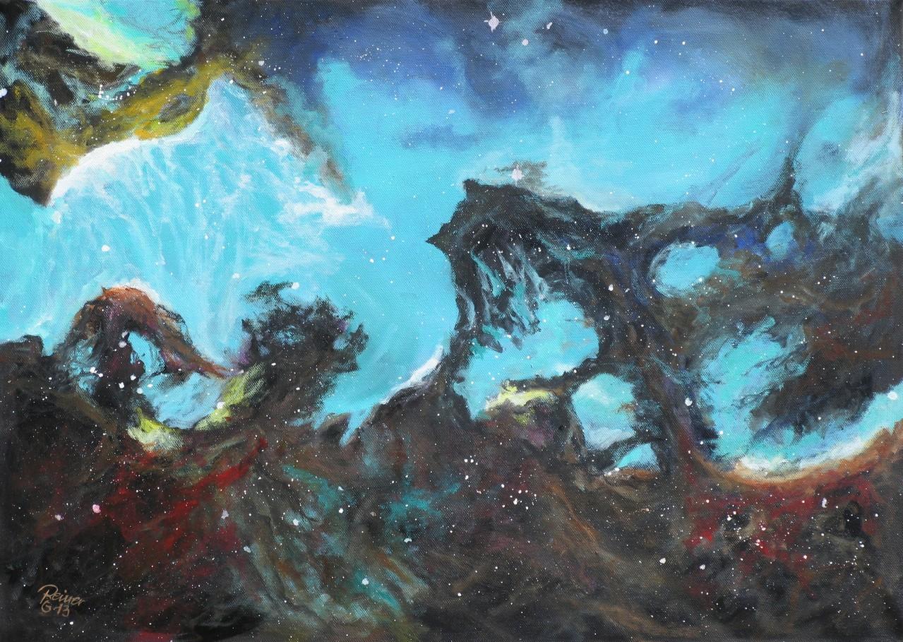 Maggelansche Wolke, Öl auf Leinwand, 50 x 70 cm