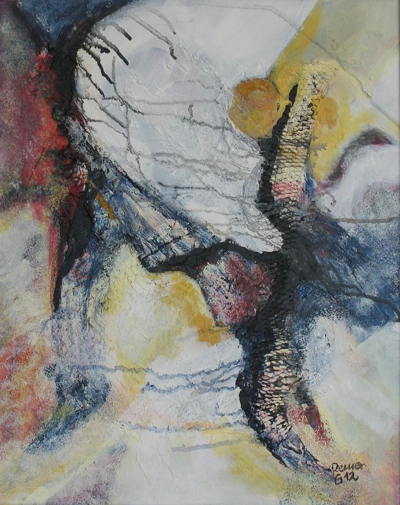 Splash, Acryl, Netz auf Leinwand, 50 x 40 cm