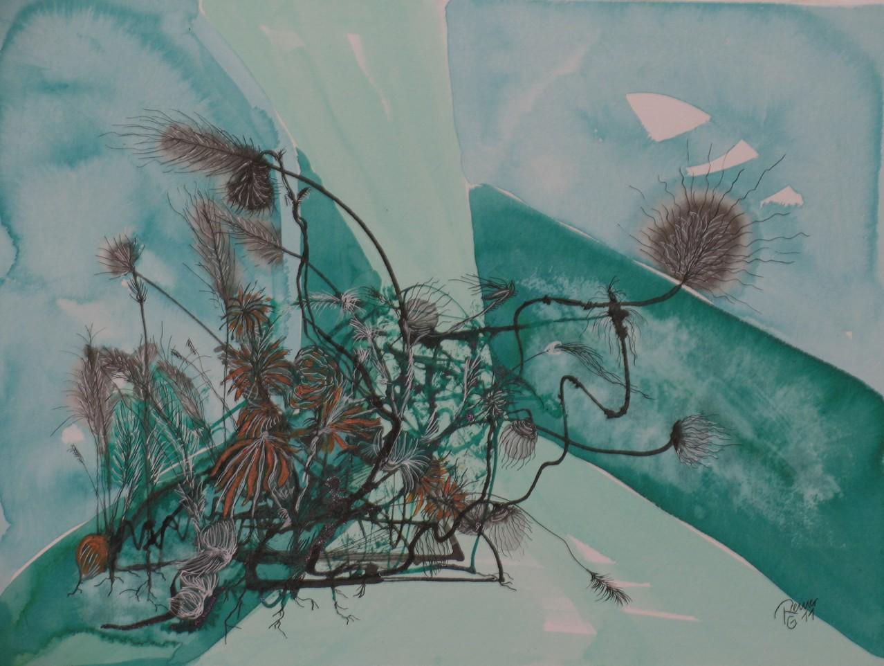 Distelartige 1, Tusche auf Papier, 30 x 40 cm