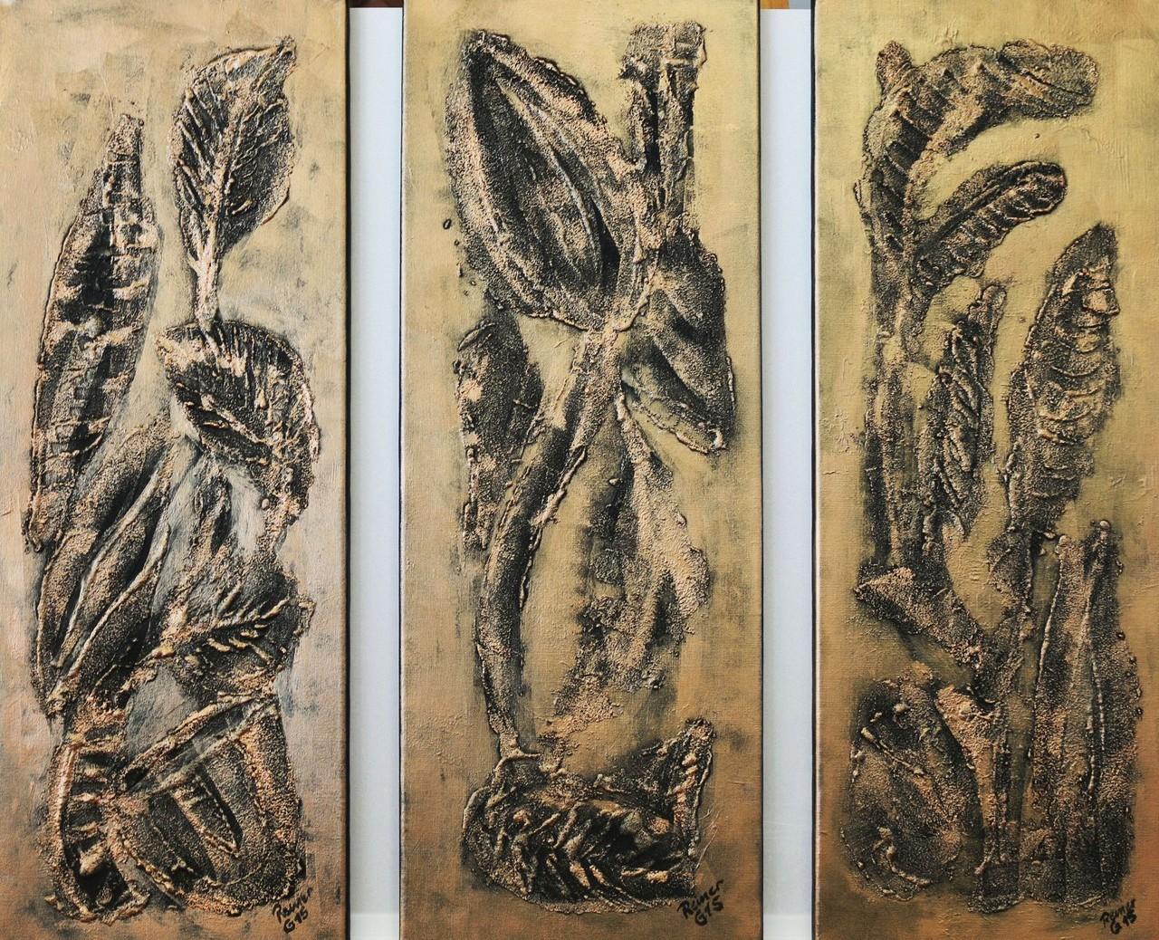 Florale Impression 1-3,Acryl,Sand auf Leinwand, 80 x 30 cm