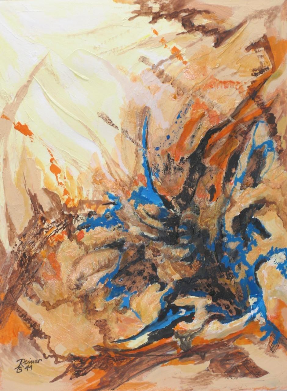 Felsspalte 3, Acryl,Marmormehl, Tusche auf Papier, 40 x 30 cm