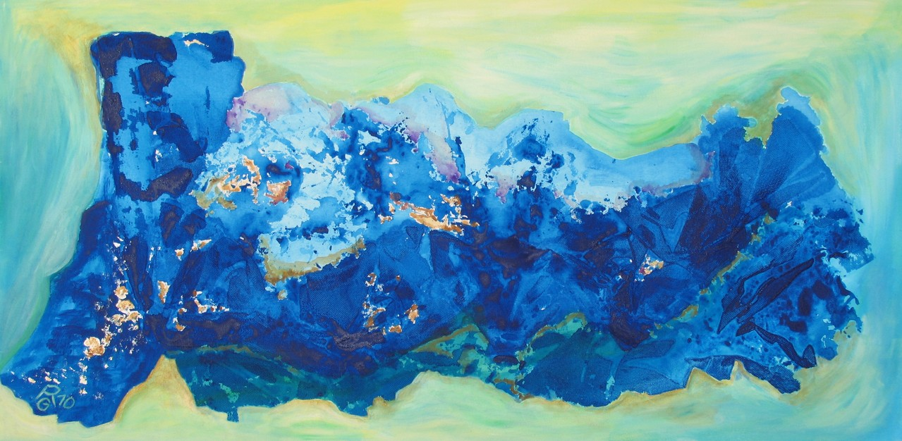 Blaue Tiefe, Acryl auf Leinwand, 50 x 100 cm