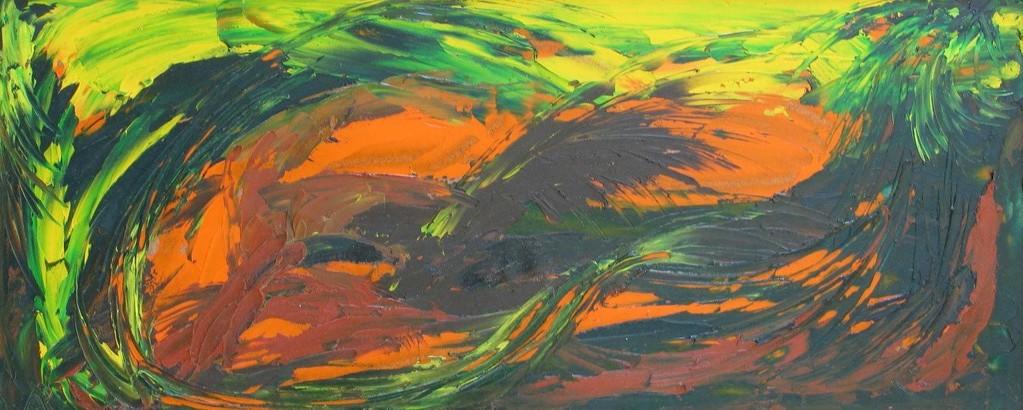 Befreiung, Öl auf Presspappe, 25 x 60 cm