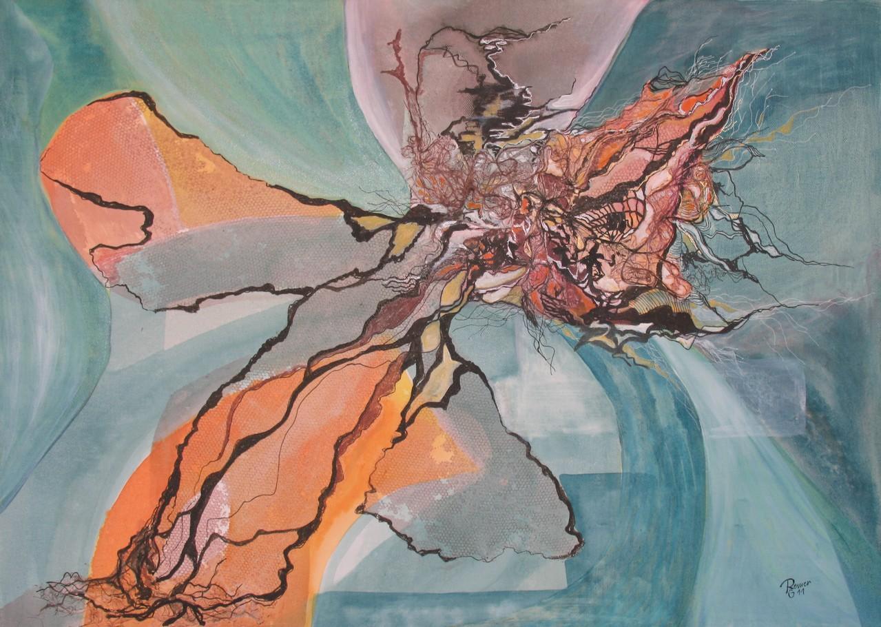 Wachstum, Tusche, Acryl, Sisal auf Leinwand, 50 x 70 cm