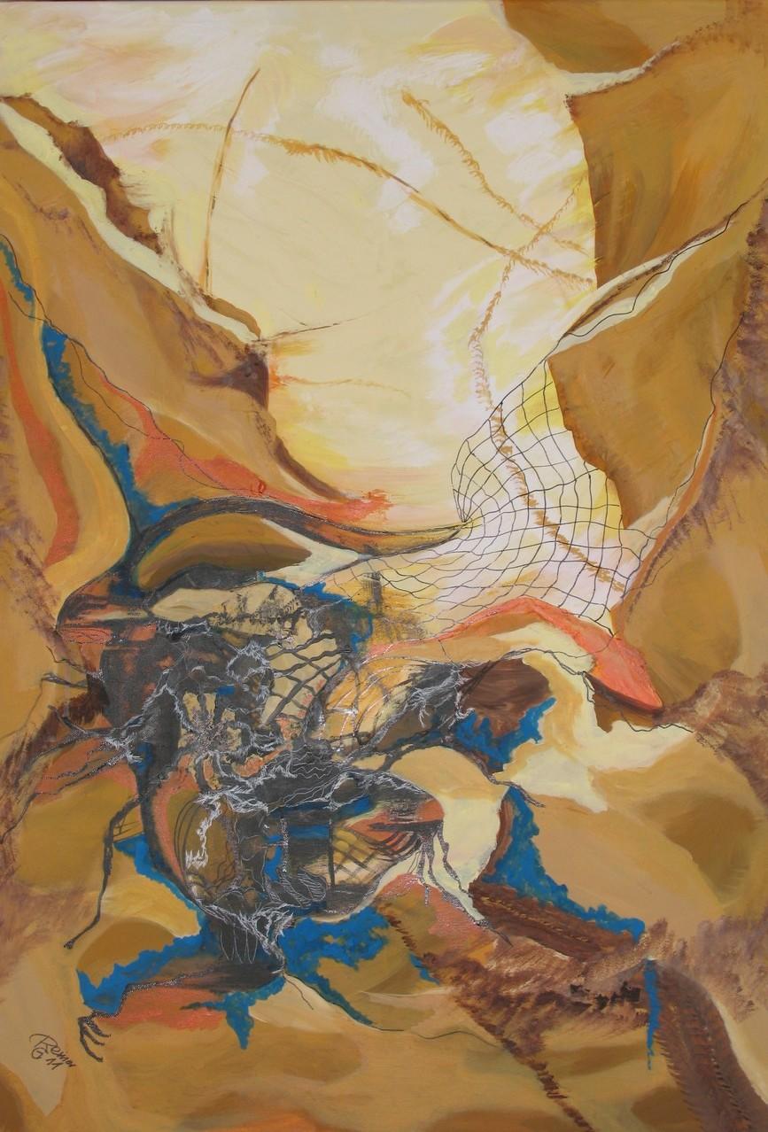 Felsspalte 4, Acryl,Marmormehl,Tusche auf Leinw. , 100 x 70 cm