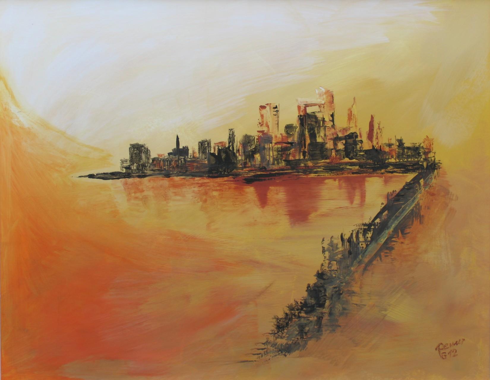 Weg in die Stadt 1, Acryl auf Karton, 40 x 50 cm