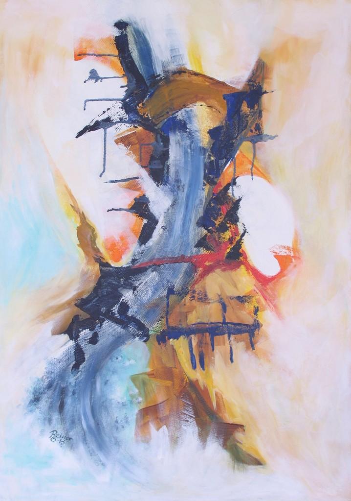 Rauschendes Wasser,  Acryl, Netz auf Holz, 100 x 70 cm