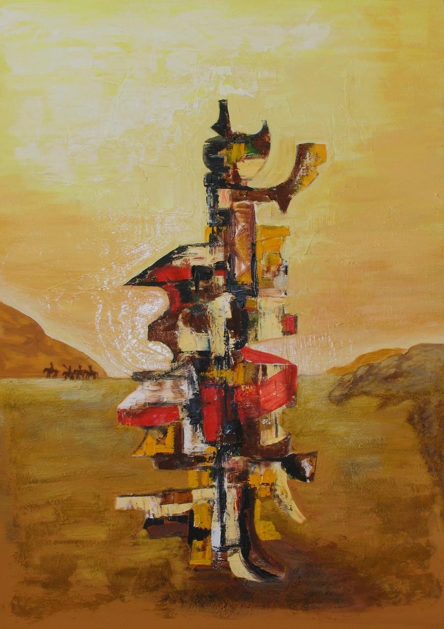 Totem, Öl, Acryl auf Leinwand, 70 x 50 cm