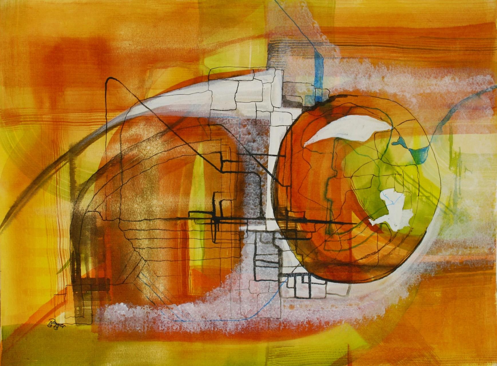 Transfer, Tusche auf Papier, 36 x 48 cm