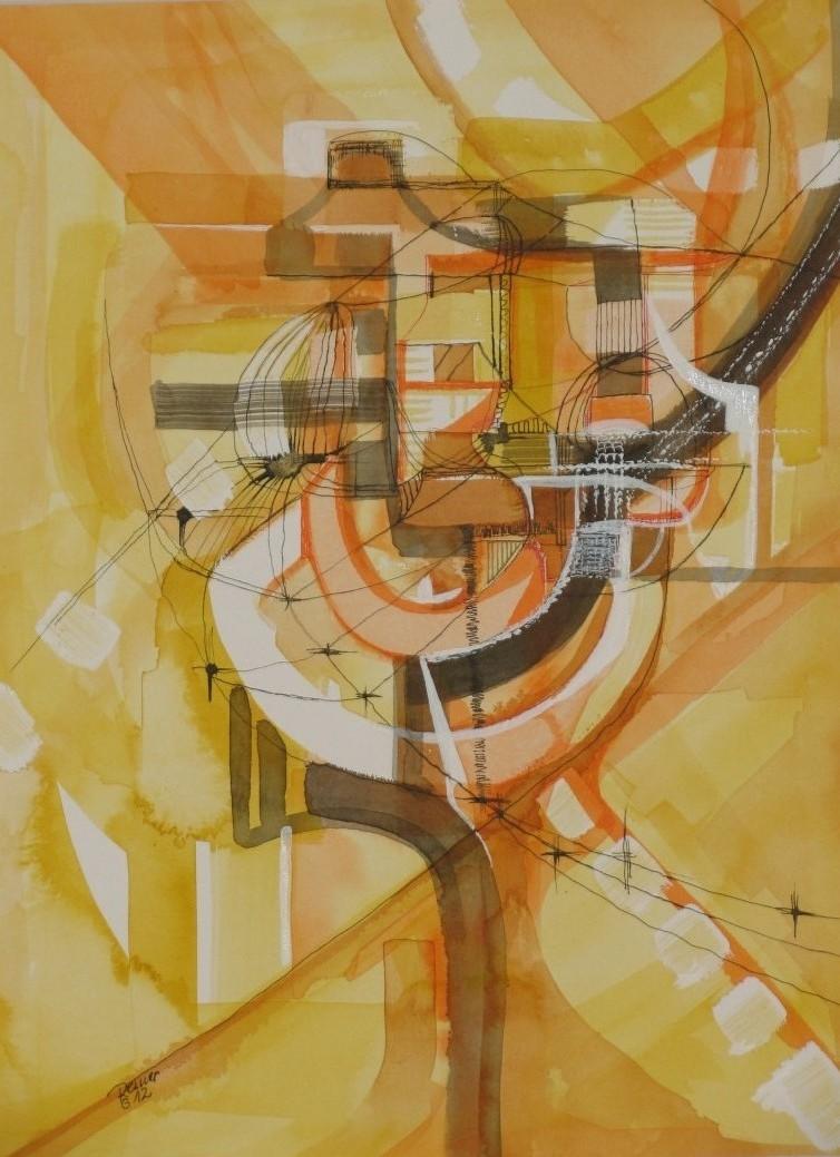 Grafik gelb 2, Tusche auf Papier, 40 x 30 cm