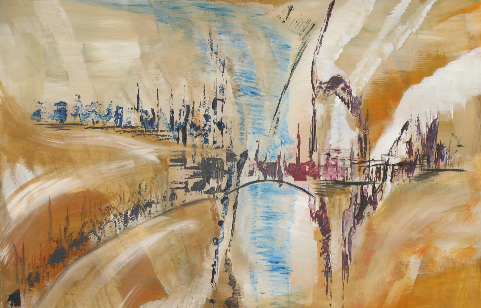 Fluss durch die Stadt, Acryl auf Papier, 40 x 60 cm