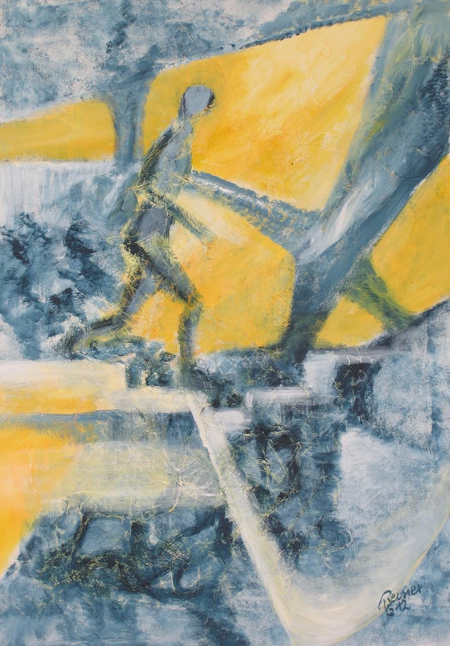 Der Läufer, Acryl, Kunstfaser auf Holz, 70 x 50 cm
