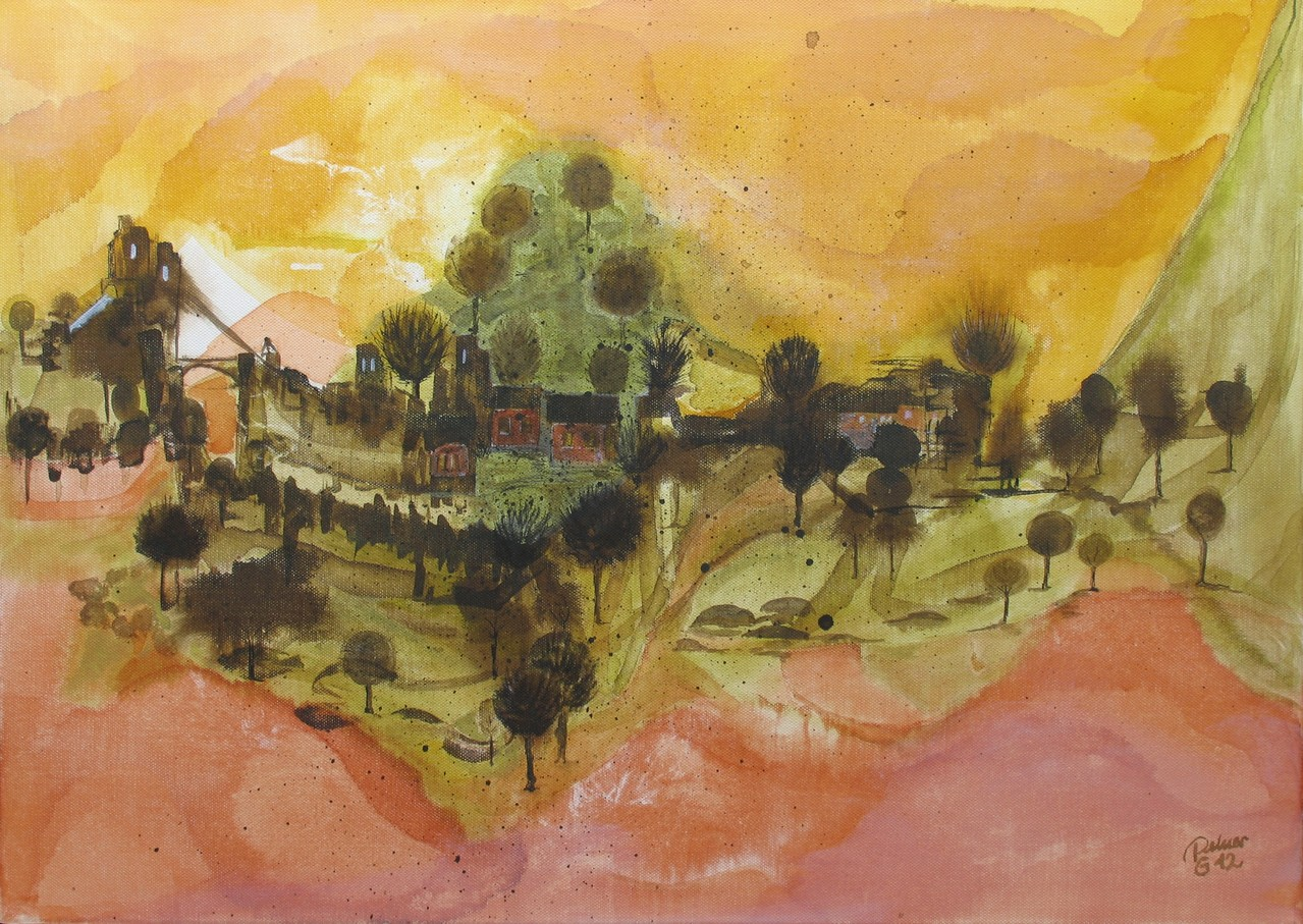 Toscana, Tusche auf Leinwand, 50 x 70 cm