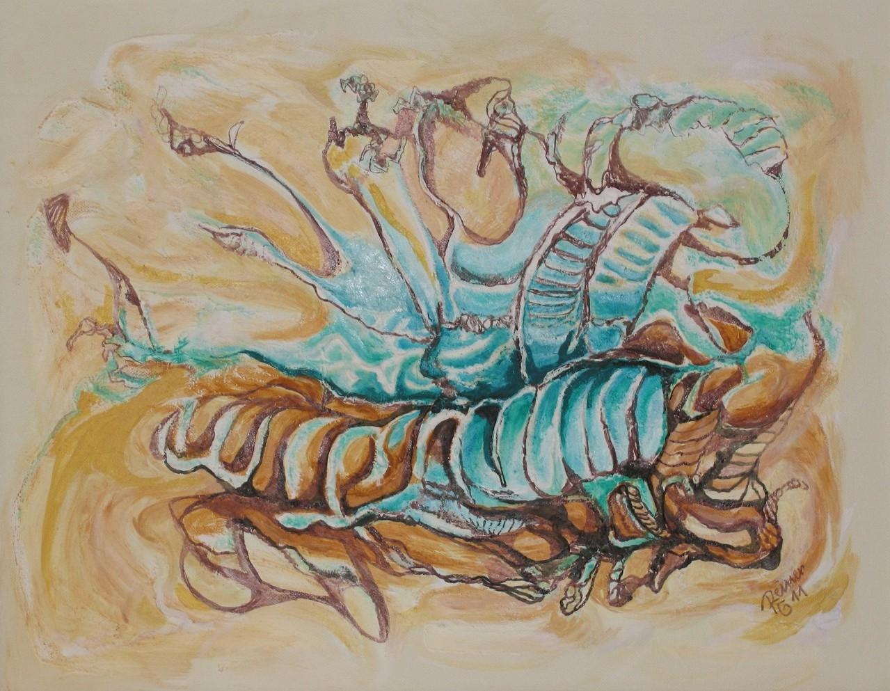 Larve, Strukturgewebe; Acryl, Tusche auf Leinw., 40 x 50 cm