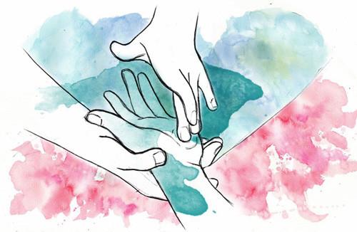 Massage de la paume d'une main.