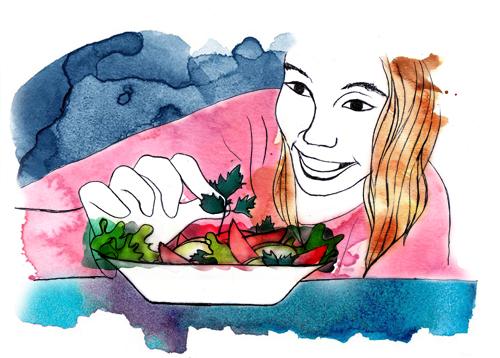 """En remplaçant les compulsions alimentaires, les séances de digipuncture font retrouver le plaisir de manger les aliments """"santé""""."""