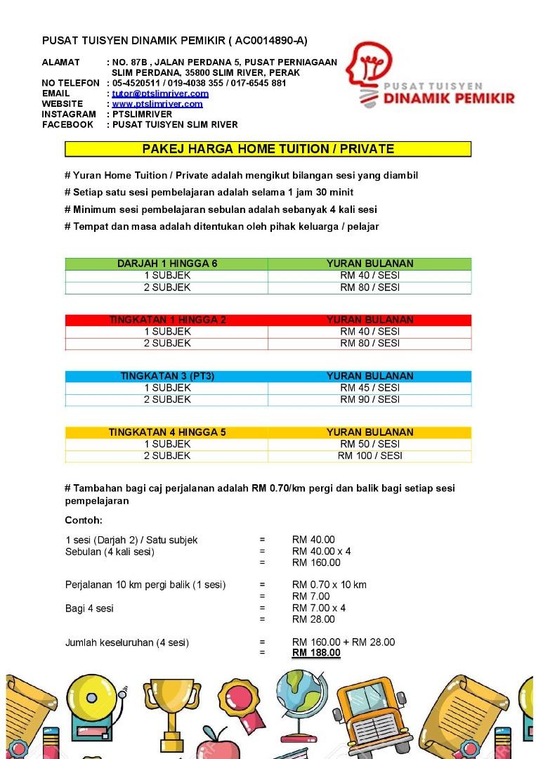 Yuran Home Tuition / Kelas Peribadi