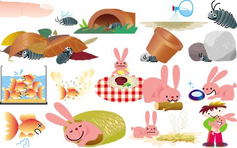 ベネッセコーポレーション「こどもちゃれんじ・じゃんぷ」 飼育(だんご虫、金魚、ウサギ)カット 2006