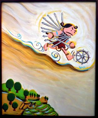 今から1000年前 劔(つるぎ)の鎧(よろい)をまとった剣の護法童子は 醍醐天皇の元へ病気平癒の為、飛んで行った。 今も、信貴山剱鎧護法堂では病平癒の守り本尊として信仰されている。